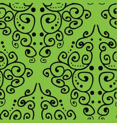 Damask inspired hand drawn line art on green vector
