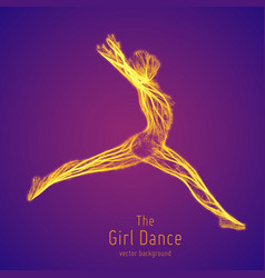 Dancing girl in a jump constructed with vector