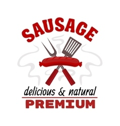 Delicious grilled sausage food label vector