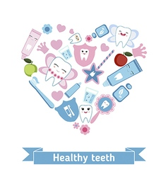 Dental care symbols in the shape of heart vector image
