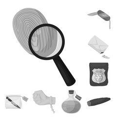 detective agency monochrome icons in set vector image