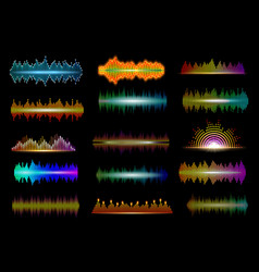 Digital equalizer neon sound or music waves vector