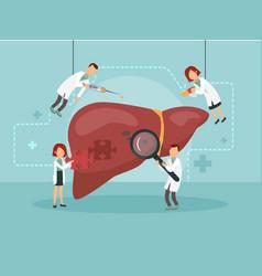 doctors treat a sick liver vector image