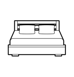 Double bed and pillow with blanket bedroom vector