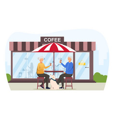 Elderly man and woman drinking coffee vector