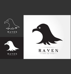 Elegant logo of raven vector