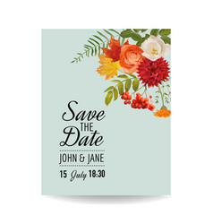 Floral wedding invitation card template vector