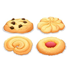 Four different flavours cookies vector