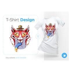 funny fox in hat prints on t-shirts sweatshirts vector image