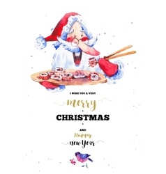 Funny Santa Claus with sushi and rolls vector image