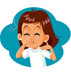 Girl pinching her nose covering bad smell vector