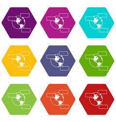 Globe and empty speech bubbles icon set color vector