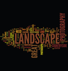 Great landscape photography text background word vector