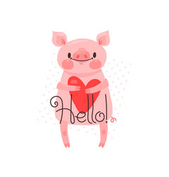 greeting card with cute piglet sweet pig says vector image
