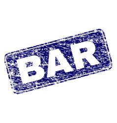 Grunge bar framed rounded rectangle stamp vector