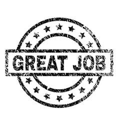 Grunge textured great job stamp seal vector