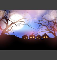 Halloween pumpkins in spooky landscape vector