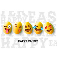 happy easter poster easter eggs with cute smiling vector image