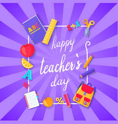 happy teacher s day wish on colorful postcard vector image