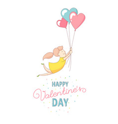 happy valentines day card woman flying with heart vector image