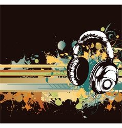 Headphones with floral vector