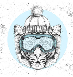 Hipster animal tiger in winter hat vector