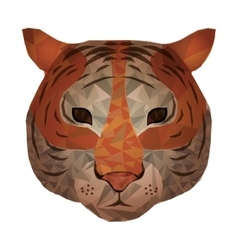 Isolated polygonal tiger design vector