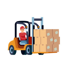 loader with boxes worker carrying box or vector image
