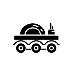 lunar vehicle icon black vector image