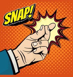 male hand with snapping finger magic gesture its vector image