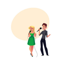 Man and woman singing in duet karaoke party vector