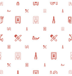 Metal icons pattern seamless white background vector