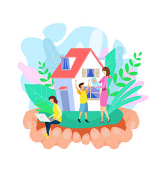 Mom and kids outside house vector