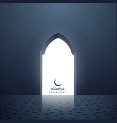 Mosque door with white light coming inside vector
