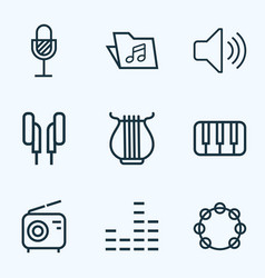 Music outlines set collection of amplifier keys vector