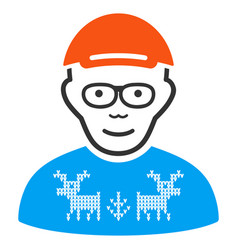 Nerd guy icon vector
