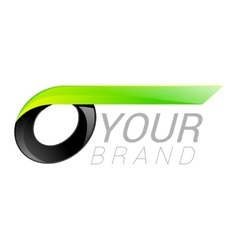 O letter black and green logo design Fast speed vector
