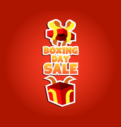 open up gift box of boxing day sale badge vector image