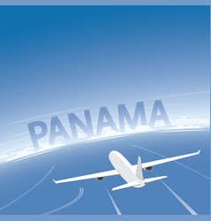 Panama skyline flight destination vector