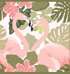 pink flamingo birds couple with exotic tropical vector image