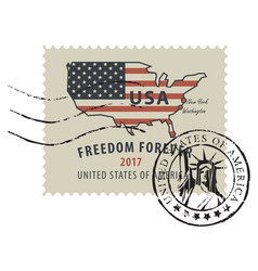 postage stamp with american flag in form us map vector image