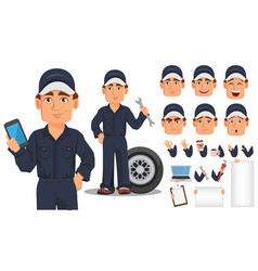 Professional auto mechanic cartoon character vector