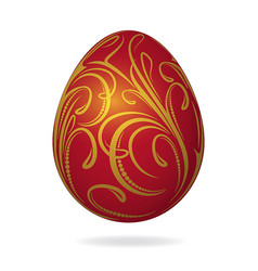 realistic bright red easter egg with golden vector image