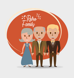 Retro family grandparents with their son vector