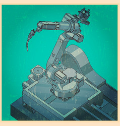 Robotic welding machine retro poster vector