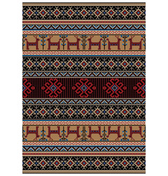 Rug with yellowredblack colors with deerflowers vector