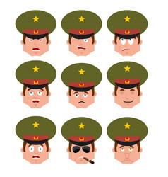 Russian officer set emoji avatar sad and angry vector