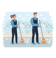 Set male and female smiling young janitor in a vector