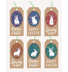 Set of easter gift tags with bunny rabbit vector