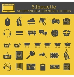 Set of Silhouette On-Line Shopping icons isolated vector image